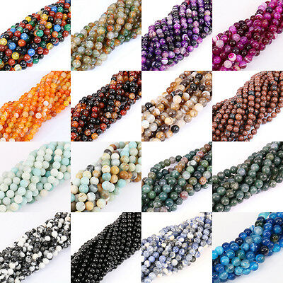 Lot 1 Strands Nature Agate Round Gemstone Loose Spacer Beads Stone 4/6/8/10/12mm
