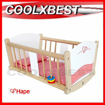 Brand New Hape Rock A Bye Deluxe Toy Doll Cradle Wooden Pretend Play