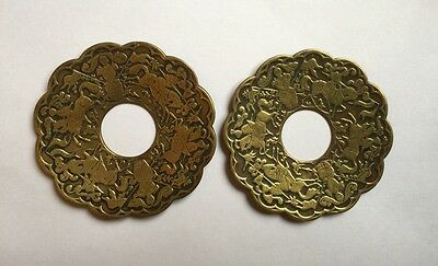 Antique Victorian French Brass Architectural Back Plates Oriental Knights Horses