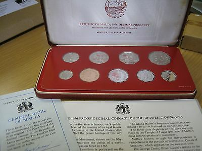 Malta 9 Decimal Coin Proof Set 1976 Franklin Mint