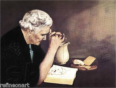Handmade Oil Painting repro on Canvas Gratitude Old Woman Praying 20''x24''