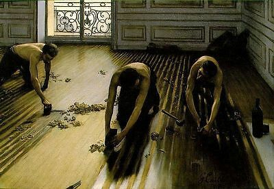 "Handmade Oil Painting repro Gustave Caillebotte Floor Strippers 24""x36"""