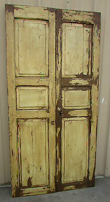 Antique Pair Mexican Old Doors-Vintage-Primitive-Rustic-Wood-40x81-White Shabby