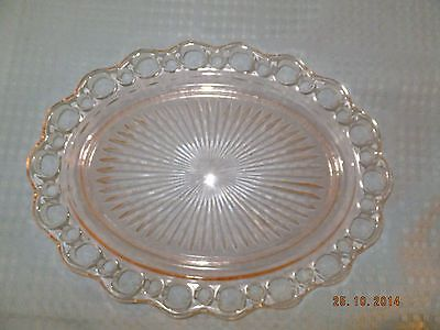 Anchor Hocking Pink Depression Old Colony Open Lace Oval Serving Platter