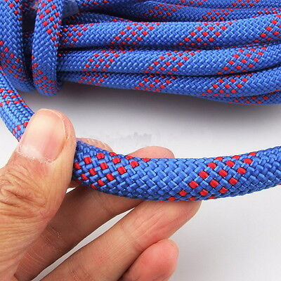 25KN Blue Safety Outdoor Rock Tree Climbing Static Escape Rescue Rope Cord W##