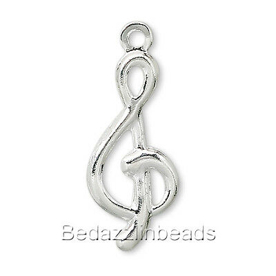 Lot of 100 16mm Treble Clef Music Note Charms Silver Plated Brass Base Metal