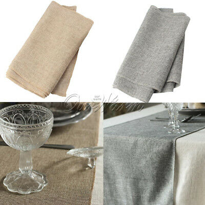 Imitated Linen Hessian Burlap Table Runner for Wedding Party Home Table Decor