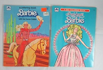 2 Barbie Coloring Books Unused No Writing Horse Dallas Jewel Secrets 1980s