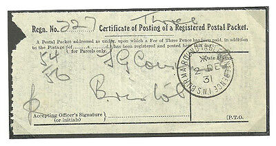 Certificate Of Posting Burma Round Table Conference Sw1 2 De 1931 Cds