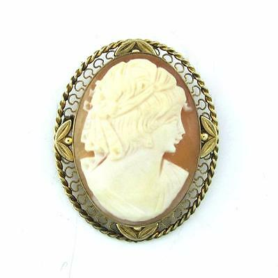 Vintage VAN DELL Real Carved Shell Cameo 14K Gold Filled Pendant / Brooch Pin