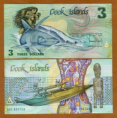 Cook Islands, $3, ND (1987), Naked Ina & a shark,  P-3, aUNC