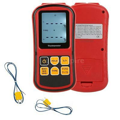 Digital LCD Thermometer Temperature Tester Meter With 2 Thermocouple Sensor U7Q6