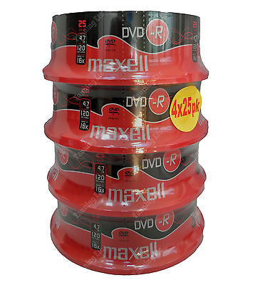 100 Maxell DVD-R 16x 4.7GB 120mins Blank Disks 4 x 25pks Shrink Wrapped