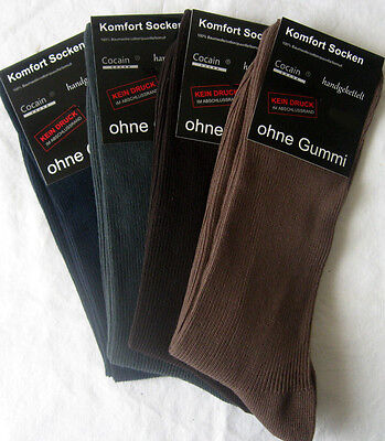 4 Pairs Socks for Diabetic Cotton without elastic Ribbed 4 Colors uni 39 to 42