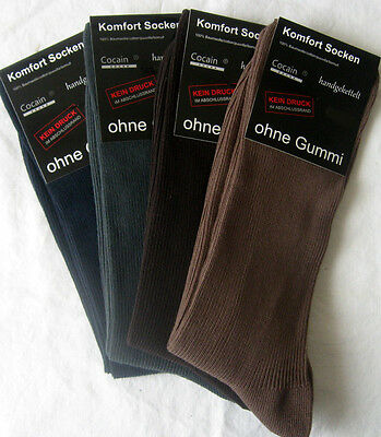 4 Pairs Socks for Diabetic Cotton without elastic Ribbed 4 Colors uni 43 - 46
