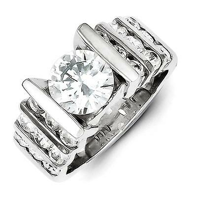 925 Sterling Silver Polished Round CZ Bridal Engagement Ring Size 8