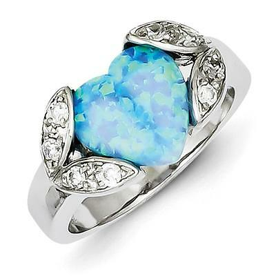 925 Sterling Silver Rhodium Plated Heart Created Opal & CZ Band Ring Size 8