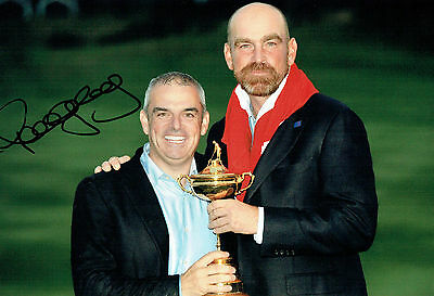 Paul McGINLEY SIGNED AUTOGRAPH Photo with Thomas BJORN AFTAL COA Ryder Cup Golf