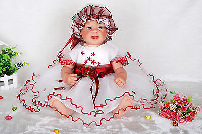 New White&Red Christening Party Dress 3-6 M with Bonnet