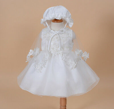 New Girls Ivory Christening Gown with Bonnet and Cape 12-18 Months