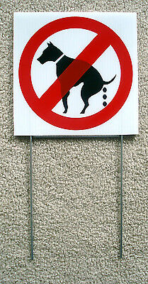 """(8) NO DOG POOP   8""""X 8"""" Plastic Coroplast Signs with Stakes  NEW (8 SIGNS)"""