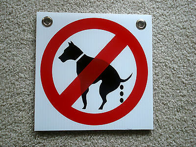 "(8) NO DOG POOP 8""X 8"" Plastic Coroplast Signs with Grommets NEW (8 SIGNS) White"