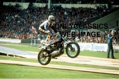 Daredevil Evel Knievel Doing Wheelie On Harley Davidson Xr-750 Motorcycle Photo