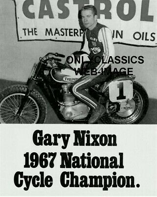 1967 Gary Nixon Ama Grand National Motorcycle Champion Photo Triumph Cycle Racer