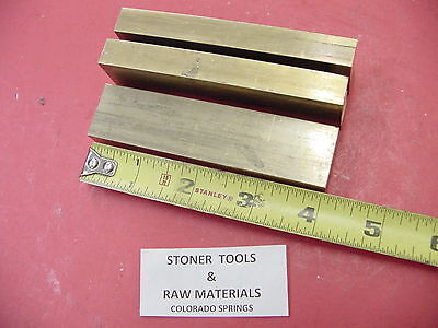 "3 Pieces 1/2"" x 1"" C360 BRASS FLAT BAR 4"" long Solid .500"" Mill Stock H02"