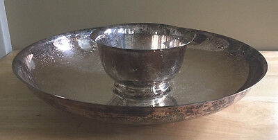 Vintage Crescent Silverplate Aspic Tray with Bowl Pattern B13 Mid Century
