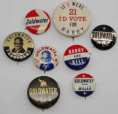 1964 Set of 8 Different Barry Goldwater Buttons