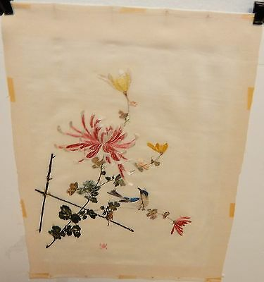 Japanese Flower In Pot Silk Embroidery Tapestry Painting Signed