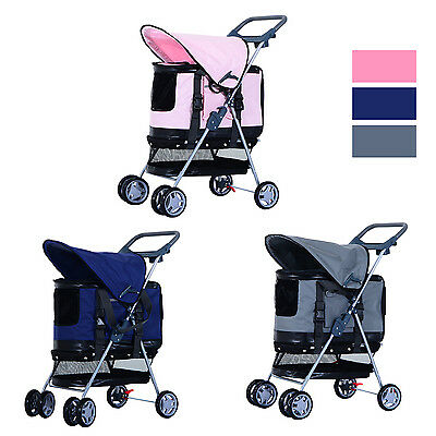 Pet Stroller Trolley Pushchair Jogger Dog Cat Foldable Detachable Carrier 2 in 1