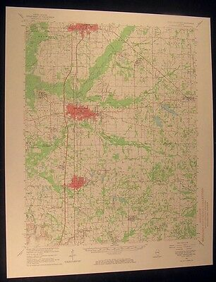 West Frankfort Illinois Pittsburg 1966 vintage USGS original Topo chart map