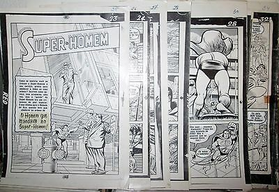 Superman 3-D #1 RARE B&W 1953 COMPLETE STORY MECHANICAL PROOF 10 PAGE ART LOT
