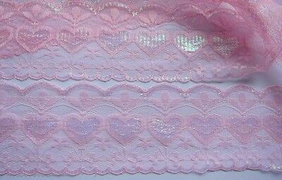"""5y Heart Floral Embroidered Lace Party Wdding Trim 3.25""""-Baby Pink V028"""
