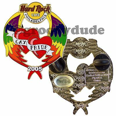 2005 Hard Rock Cafe Philadelphia LGBT Pin Gay Pride Heart Rainbow Angel Wings LE