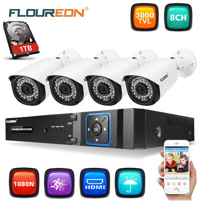 8CH 1080N DVR 2000TVL Outdoor IR CCTV Video Home Security Camera System 1TB HDD