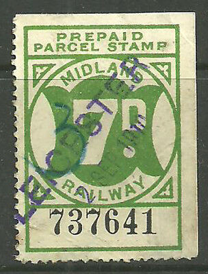 7D Midland Railway Prepaid Parcel Stamp Cancelled Leicester 1910 In Violet