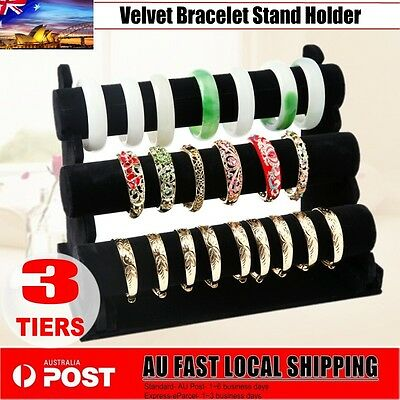 3-Tier Organizer Jewelry Holder Display Bracelet Chain Bangle Watch Hanger AU