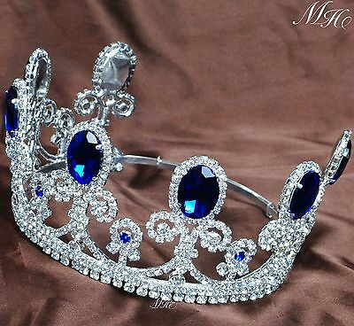 Royal Blue Sapphire Tiara Diadem Bridal Crystal Crown Pageant Prom Party Costume