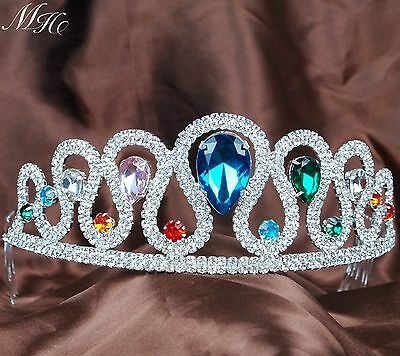 Chromatic Tiara Hair Comb Colored Crystal Bride Crown Wedding Pageant Prom Party
