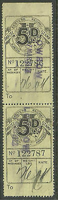 5D Pair North Eastern Railway Parcel Stamps Cancelled Low Row 1912 In Violet