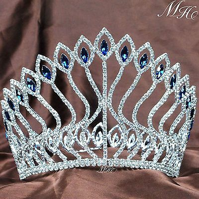 "Large Wedding Pageant Tiara Diadem 5"" Blue Rhinestone Crown Prom Party Costumes"