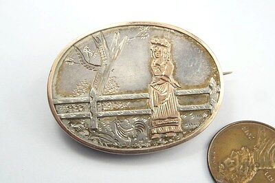 ANTIQUE VICTORIAN ENGLISH SILVER & GOLD KATE GREENAWAY STYLE BROOCH c1870