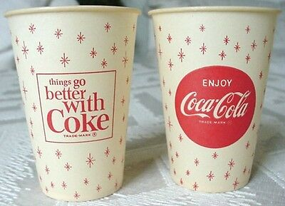 """4  ~ Coca Cola """" THINGS GO BETTER WITH COKE """" Paper Soda Pop Cups 1960 's  NOS"""