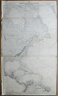 1870 United States North Atlantic Ocean West Indies Vintage Admiralty Chart Map
