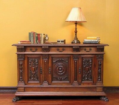780440-1 : Antique Italian Carved Renaissance Sideboard Buffet Cabinet Console