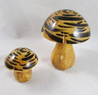 2 Alabaster Mushrooms Paperweights Vintage Stone Carved Italy Boho Hippie Decor