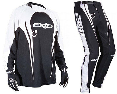SHOT EXID 11 TRIALS PANTS + JERSEY BLACK off-road mx enduro bike trousers shirt